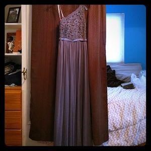 Davids Bridal Long Lace Pewter Bridesmaids Dress 4